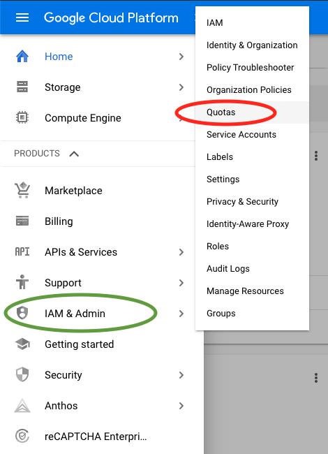 Google cloud IAM Quota menu