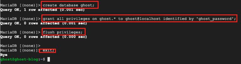 Create Ghost Database