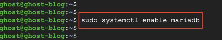 mariaDB start on server boot